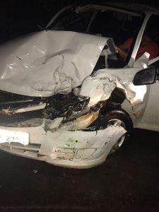 Colisão frontal entre veículos na madrugada deixa feridos na BR 316 em Bom Jardim.