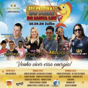 Prefeitura divulga as atrações do 31º Festival do Peixe da Santa Luz.