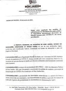 Prefeitura cancela todos os eventos que possam ocasionar aglomeração em Bom Jardim