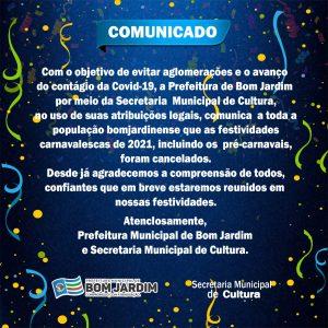 Prefeitura cancela oficialmente o Carnaval em Bom Jardim de 2021